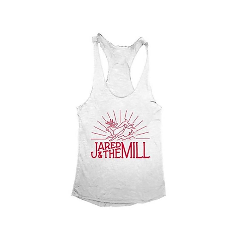 Jackelope Heather White Racerback Tank Top