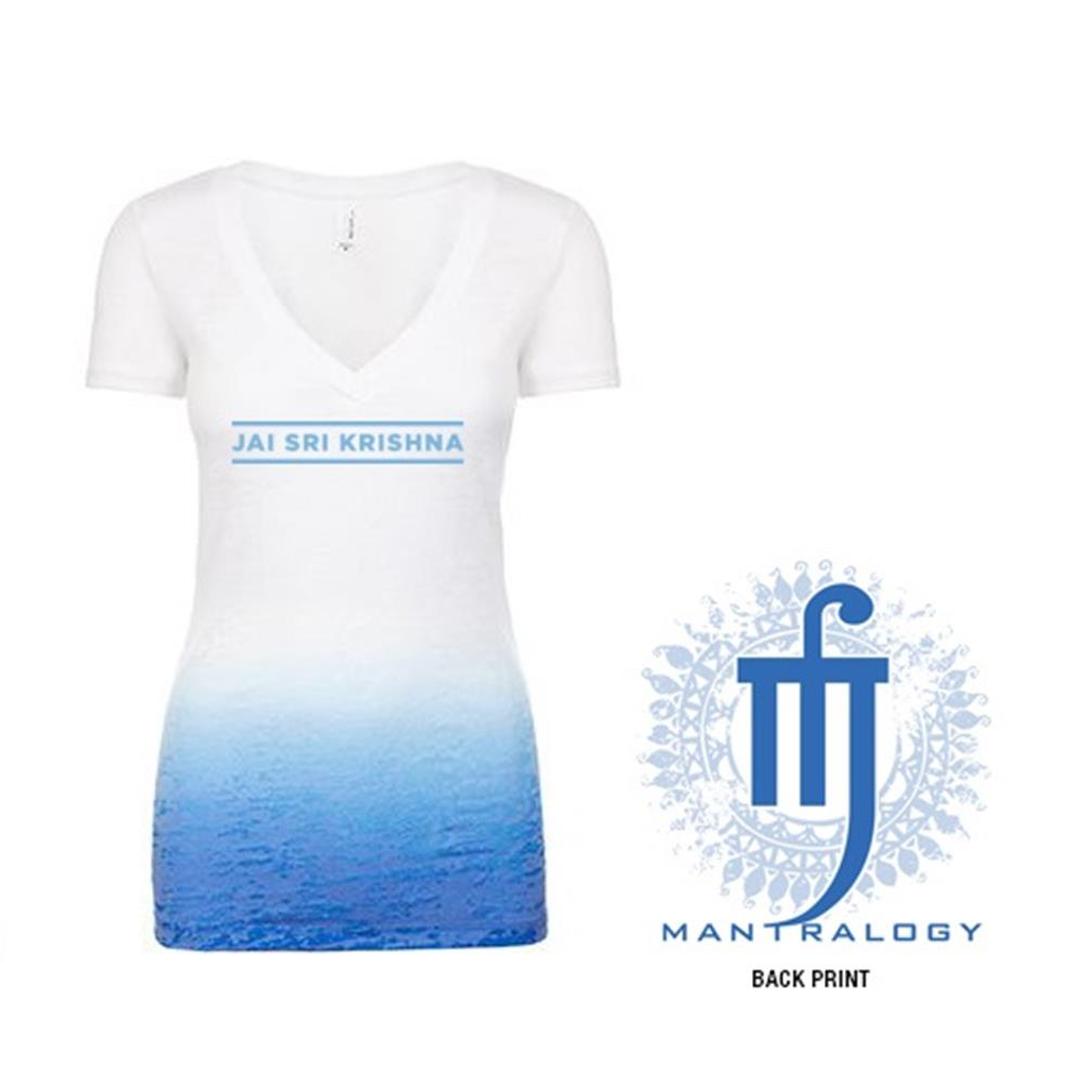 Jai Sri White/Royal Ombre Women's V-Neck