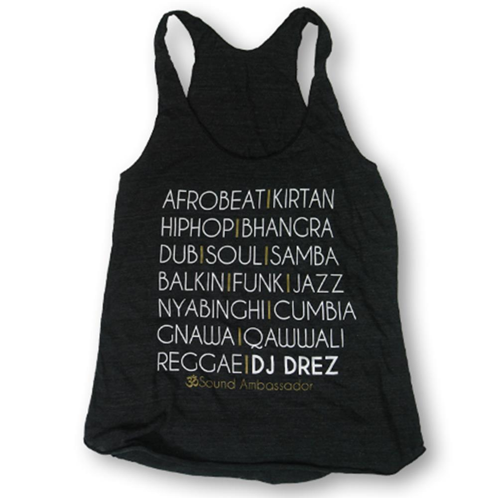 Mantralogy DJ Drez Music Tri-Black Racerback Tank Top