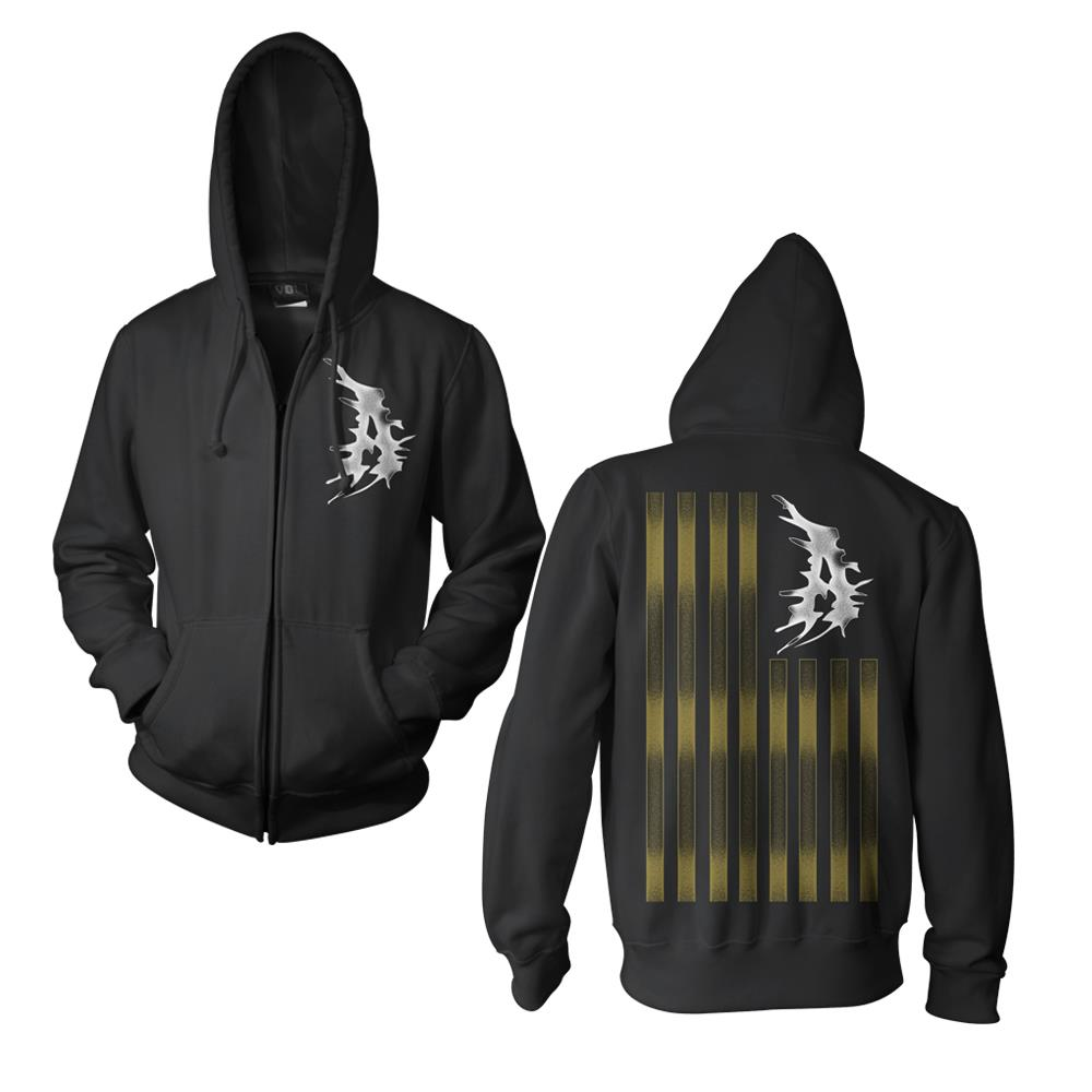 A Flag Black Hooded Zip-Up