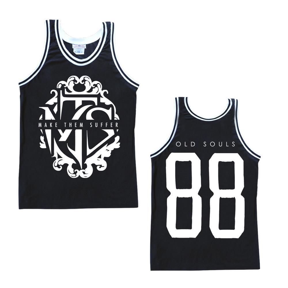 White Logo Black Basketball Jersey