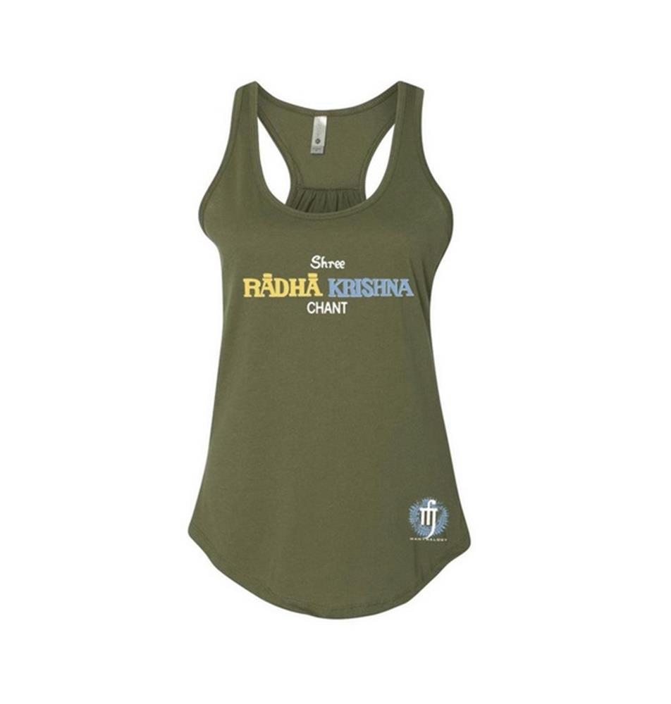 Mantralogy Radha Krishna Chant Military Green Women's Racerback Extra Small