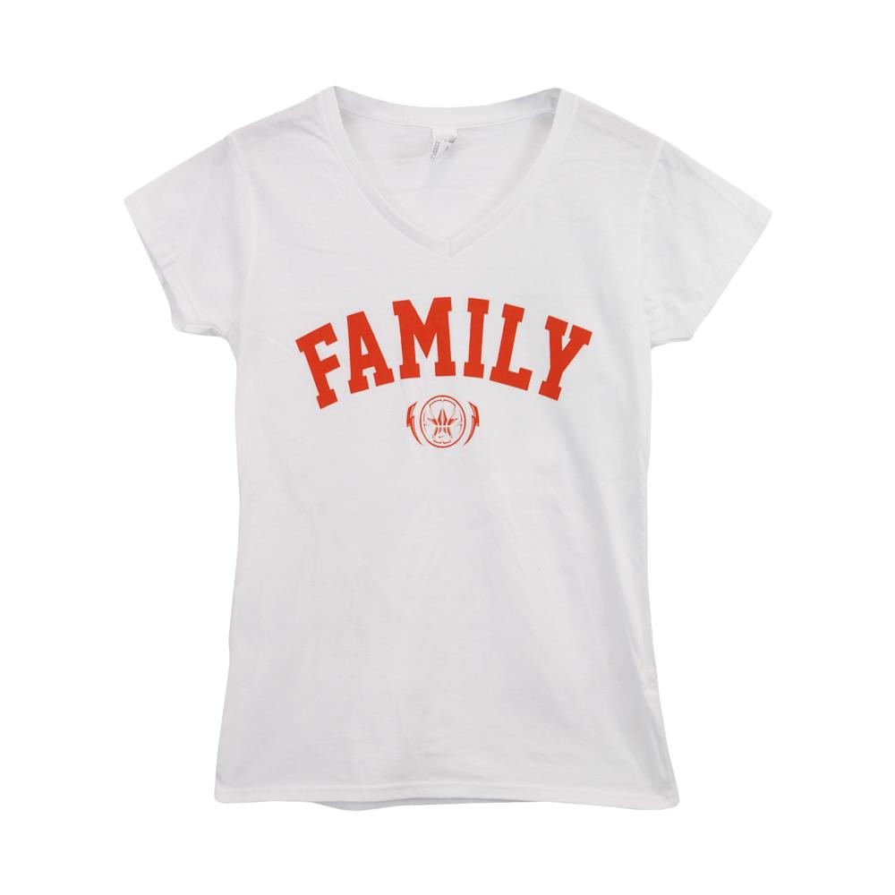 Family White Girl's V-Neck T-Shirt