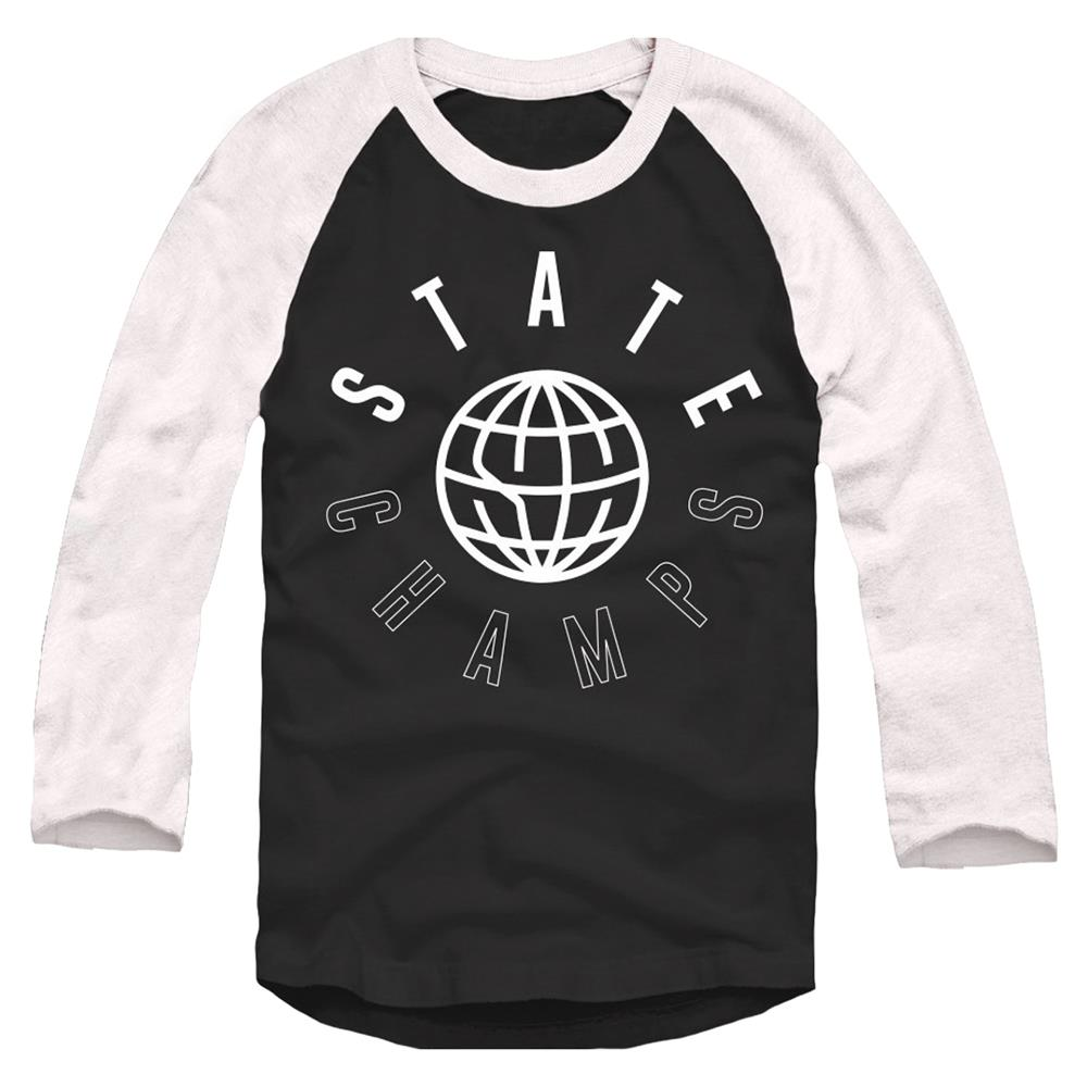 Worldwide White On Black Trunk Raglan Baseball Shirt