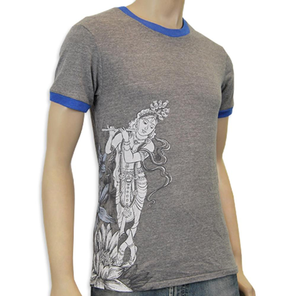 Mantralogy Krishna Side Print Heather Grey/Blue Ringer