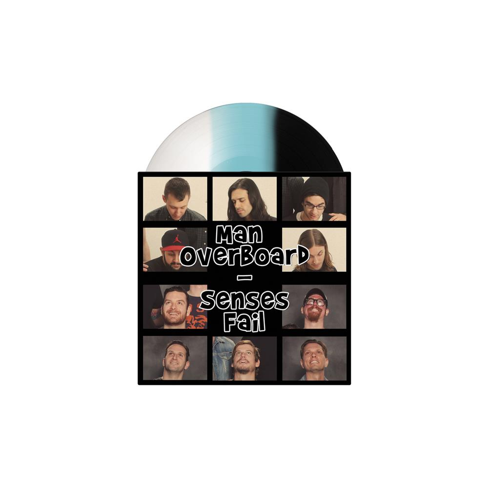 Split Black/Baby Blue/White Striped Tri-Color 7 Inch LP