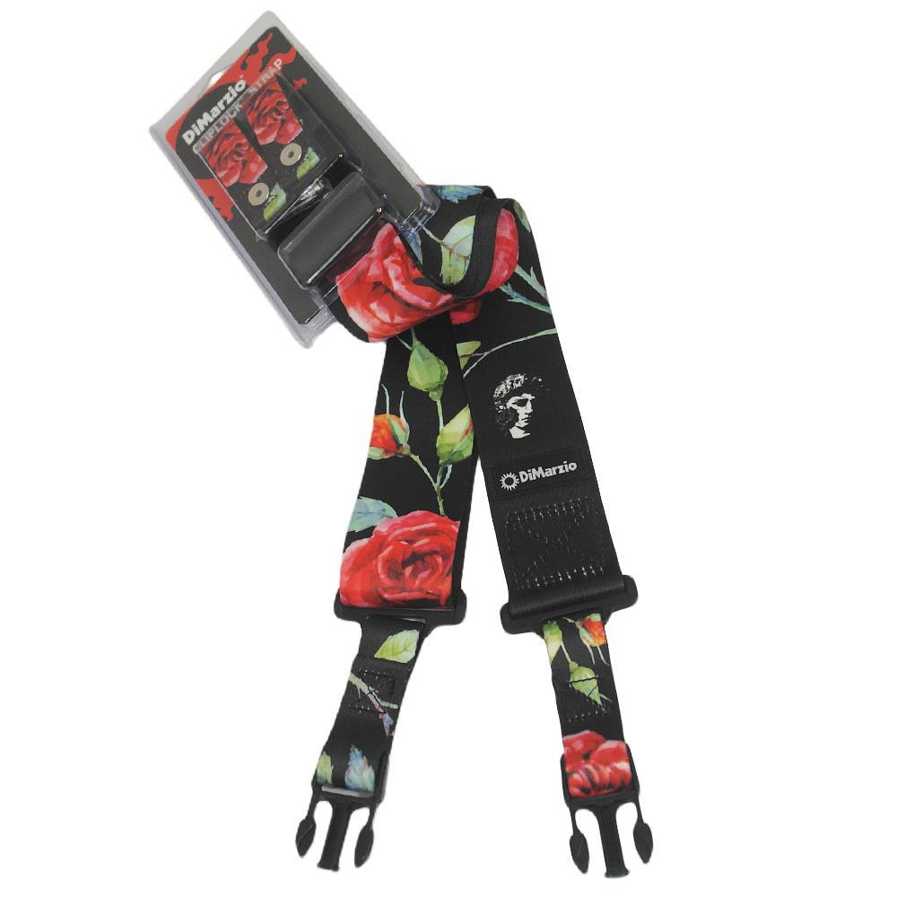 DiMarzio ClipLock Rose Black Guitar Strap